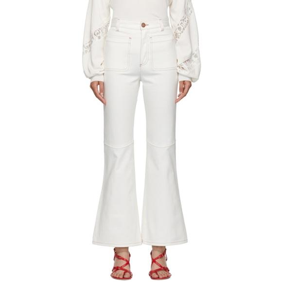 9e6c5881bd See by Chloe White Fluid Flare Leg White Jeans
